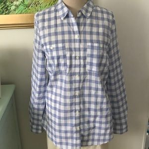OLD NAVY Blue Plaid Cotton Shirt Blouse Size M